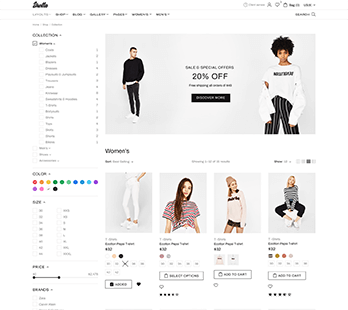 Shopify Collection page demo with banner and four products per row